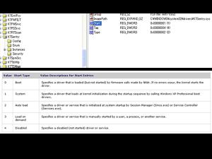 """セーフモードからレジストリエディタを開いて、HKEY_LOCAL_MACHINE\SYSTEM\CurrentControlSet\Servicesを開いてstartの値を""""4""""にする"""